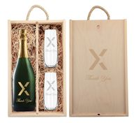 *NEW* Custom-Label Champagne Gift Set with Stemless Flutes and Engraved Wooded Box