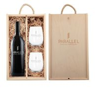 *NEW* Custom-Label Wine Gift Set with Stemless Glasses and Engraved Wooded Box