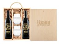 *NEW* Custom-Label 2-Bottle Wine Gift Set with Stemless Glasses and Engraved Wooded Box