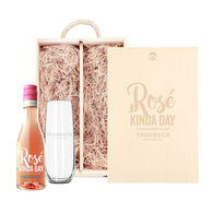 *NEW* Custom-Label Mini Rose Gift Set with Stemless Glass and Engraved Wooded Box