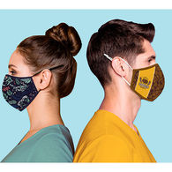 2-Ply Soft-Cotton Mask with Center Seam, Adjustable Ear Loops and Full-Color All-Over Printing