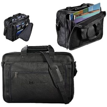 """Simulated Leather Laptop Briefcase - Holds 17"""" Laptops"""