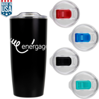 *NEW* 22 Oz Double-Wall Thin Matte Finish Stainless Steel Tumbler with Colored Slider on Lid - Made in USA