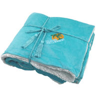 """*NEW* 50"""" x 60""""  Lambswool Microsherpa Throw with Decorative Rope"""
