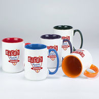 *NEW* 15 oz Coffee Mug with Color Interior and Handle and Full-Color Imprint - Low Minimums