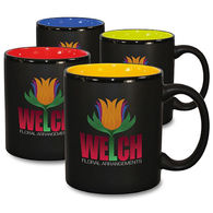 *NEW* 11 oz Black Coffee Mug with Color Interior and Full-Color Wraparound Imprint (No Bleed)- Low Minimums