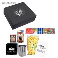 *NEW* Snack Attack Sugar Rush Set Includes Jelly Beans, Swedish Fish, Skittles, Gummy Bears, Gourmet Popcorn, Peppermints, Chocolate Chip Cookie, Hot Cocoa, Gourmet Coffees and Stainless Steel Tumbler