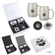 *NEW* Moscow Mule Cocktail Kit Includes Barrel Mugs, Stainless Steel Ice Cubes and Leather Coasters