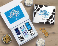 *NEW* Cookies & Milk Gift Box includes 2 Cookie Canisters and a Box of Shelf-Stable Milk in a Custom Gift Box