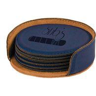 *NEW* Leatherette Round 6-Coaster Set - Low Minimum Order!