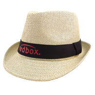 *NEW* Natural Straw Fedora Hat with Colored Band