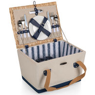 *NEW* Retail-Quality Wooden Frame Handwoven Picnic Basket Features Full-Service for Two Including a Stainless Waiter's Corkscrew