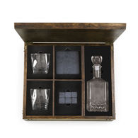*NEW* Whiskey Box Gift Set Includes Decanter, Glasses, Coasters and Whiskey Stones in a Rubberwood Chest, Perfect for VIPs and Executives