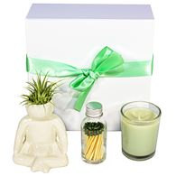 *NEW* Zen Gift Box Includes Meditative Pose Ceramic Pot, Scented Candle and Matches in a Glass Bottle
