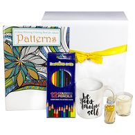 *NEW* Pause and Unwind Gift Box Includes Adult Coloring Book, Colored Pencils, Motivational Coffee Mug, Candle and Matches in a Glass Bottle