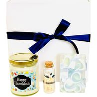 *NEW* Happy Hanukkah Gift Box Includes Soy Candle, Glycerine Soap, and Matches with Striker