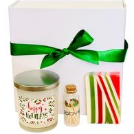*NEW* Happy Holidays Gift Box Includes Soy Candle, Glycerine Soap, Matches and Striker