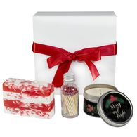 *NEW* Merry and Bright Gift Box Includes Soap Bar, Soy Candle, and Matches in Glass Bottle