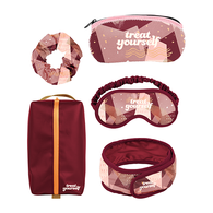 *NEW* First Class Kit with Eye Mask, Glasses Case, Head Wrap, Scrunchie, and Message Card in Travel Bag
