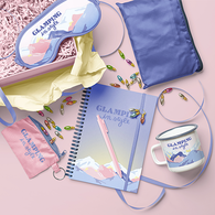 *NEW* Glamping Kit with Knapsack, Eye Mask, Key Ring, Mug, Notebook, Pen and Message Card in Gift Box