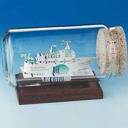 Cruise Ship Business Card Sculpture in a Bottle Award
